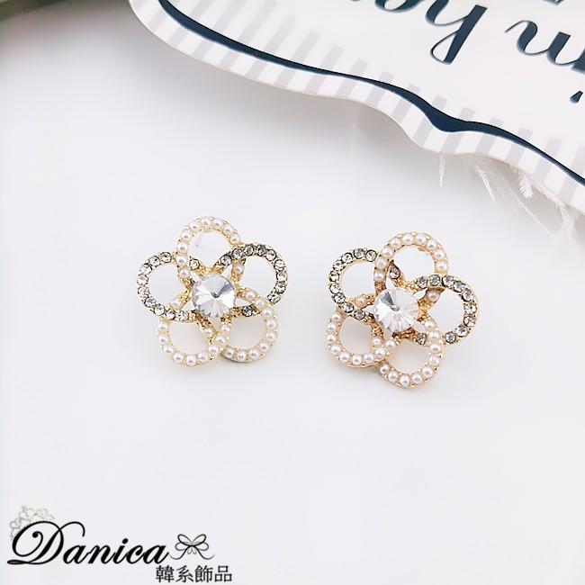 925銀針 夾式耳環 韓國女神氣質浪漫花朵珍珠水鑽925銀針耳環 K93716 批發價 Danica 韓系飾品