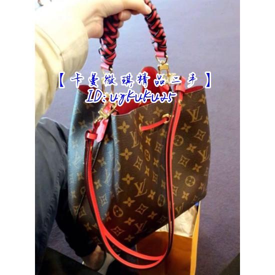 【卡曼微琪精品二手】LV  紅色NéoNoé 新款 束口式水桶包 +編織手柄M43985 紅色