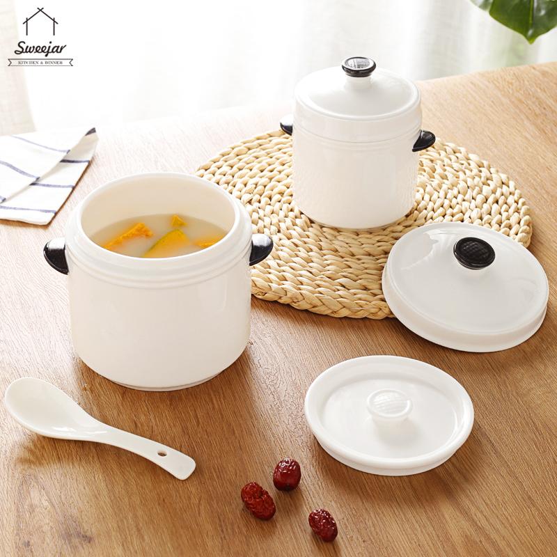 陶瓷燉盅燉碗帶兩個蓋和手柄 用於湯蒸雞蛋碗燉鍋 600ML 1000ML