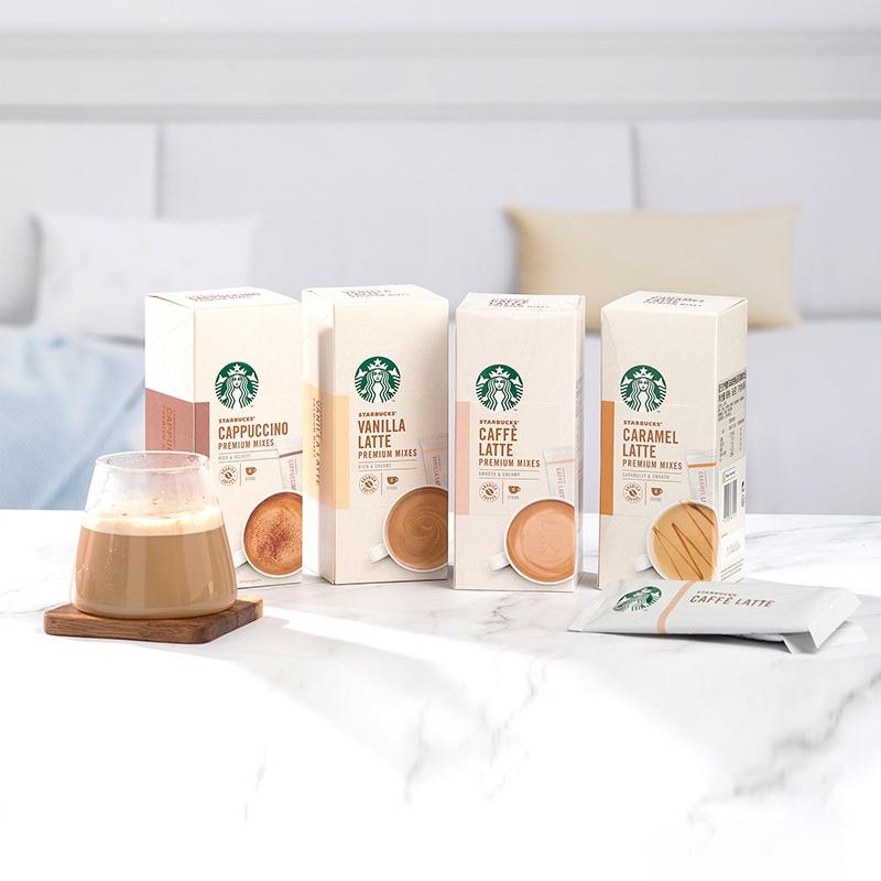 ✲◘▬星巴克家享咖啡奶香拿鐵卡布奇諾即溶咖啡4口味5盒禮盒裝