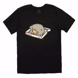 Pusheen The Cat Pizza Box Pusheen Eating Pizza Nwt許可男士T恤黑色