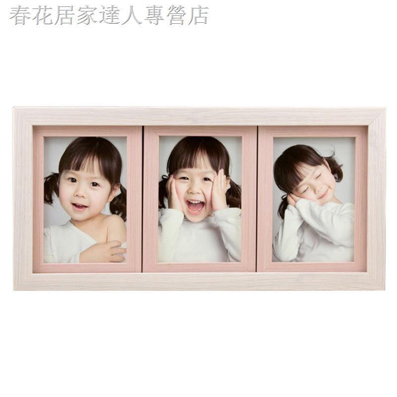 ◄❧{現貨爆款}三連框5寸6寸7寸兒童連體相框木紋寶寶照片組合掛墻韓版擺臺創意