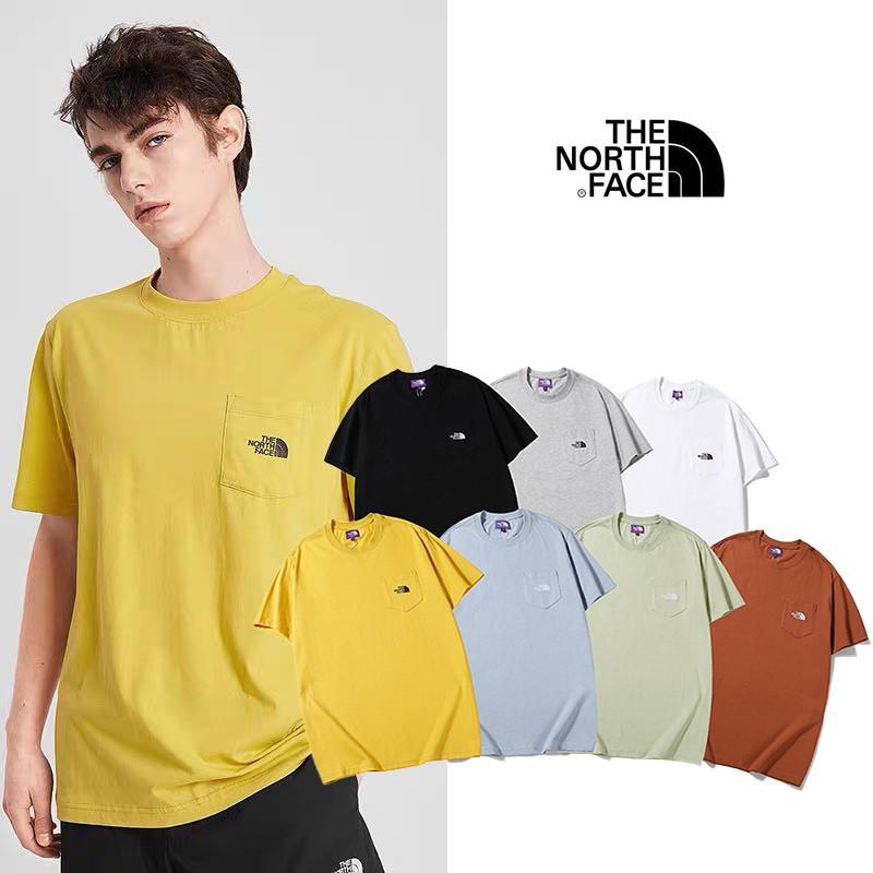 《孤立行星》日系 THE NORTH FACE 北面 純棉短tee恤 口袋紫標logo 短袖T恤 情侶款上衣 素色t 班