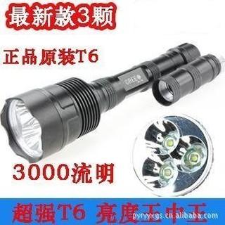 (超特賣)3顆T6手電筒 大功率3T6 全配 流明3000 亮度超越L2 手提燈 探照燈 頭燈 投射燈 台南市