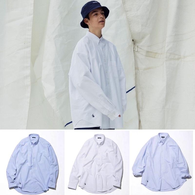 Nautica長谷川sail小帆船刺繡寬松日式長袖襯衫襯衫21SS