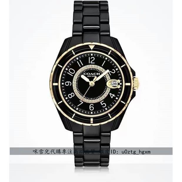 咪雪兒精品✨Coach蔻馳手錶 黑色陶瓷女腕錶 石英錶 14503461 PRESTON系列 日曆Clogo 數字精品錶