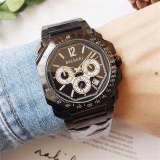 現貨實拍 BVLGARI 寶格麗 全功能石英錶 手錶 真三眼 鋼帶 男表 潮錶 商務男士腕錶 手錶