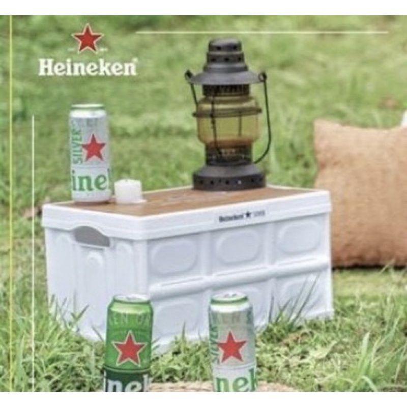 海尼根白色全星野露營收納箱桌/箱子/桌子。