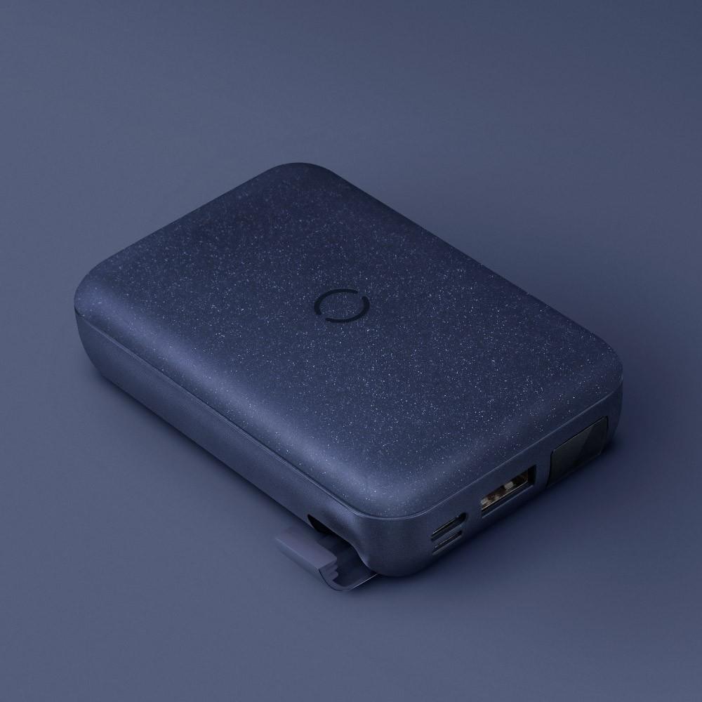 (免運) UNIQ|HydeAir 10000mAh 無線快充帶支架螢幕行動電源 黑色 30分鐘快速充電50%
