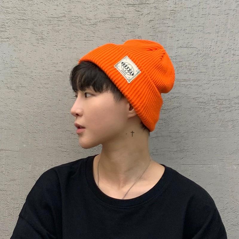 毛帽 現貨優質毛線帽潮牌針織帽男日系嘻哈冷帽男生帽子潮流韓版帥氣橘色帽子女