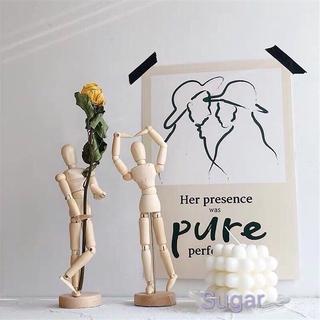 木頭人活動關節擺件家居裝飾擺拍人偶素描人體模型木工藝品 85uA