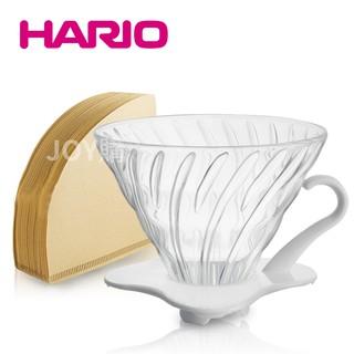 【HARIO】V60 1~2人份白色玻璃濾杯(VDG-01W)+無漂白01濾紙110張 臺北市