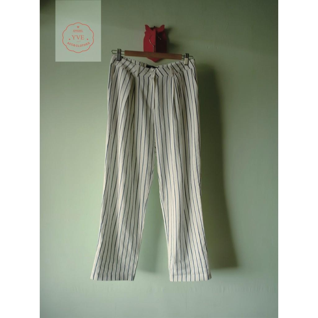 【yve,】outlet,前些日子|棉麻直紋寬褲
