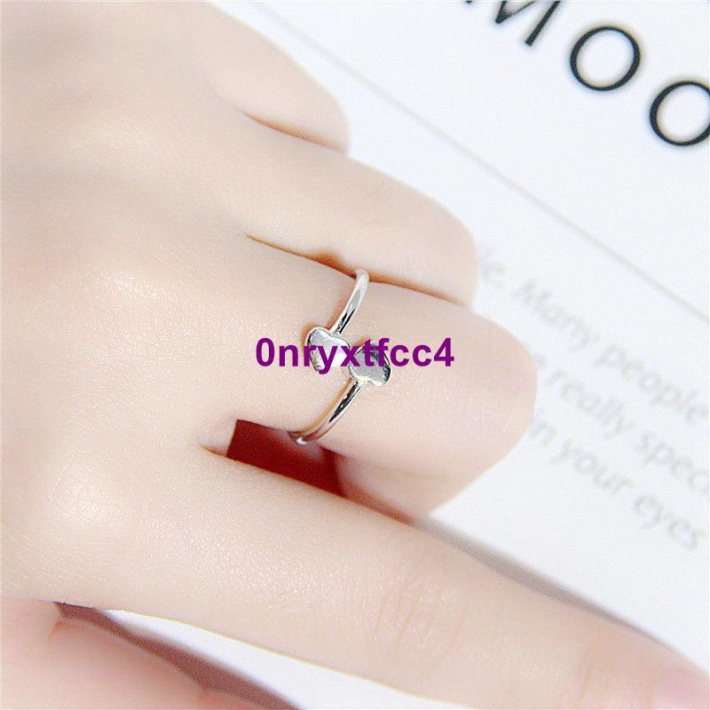 小巧原創飾品S925純銀心形學生食指戒指女韓國時尚雙心開口指環