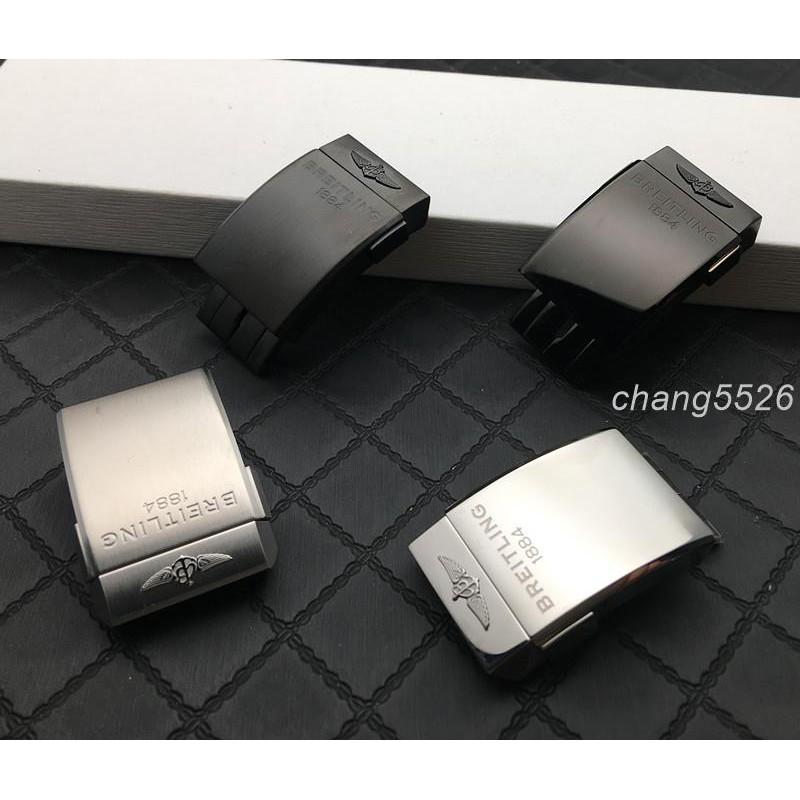 🏉🏆原廠品質真拉牙適配Breitling B家表扣手表帶扣20mm磨砂亮黑銀