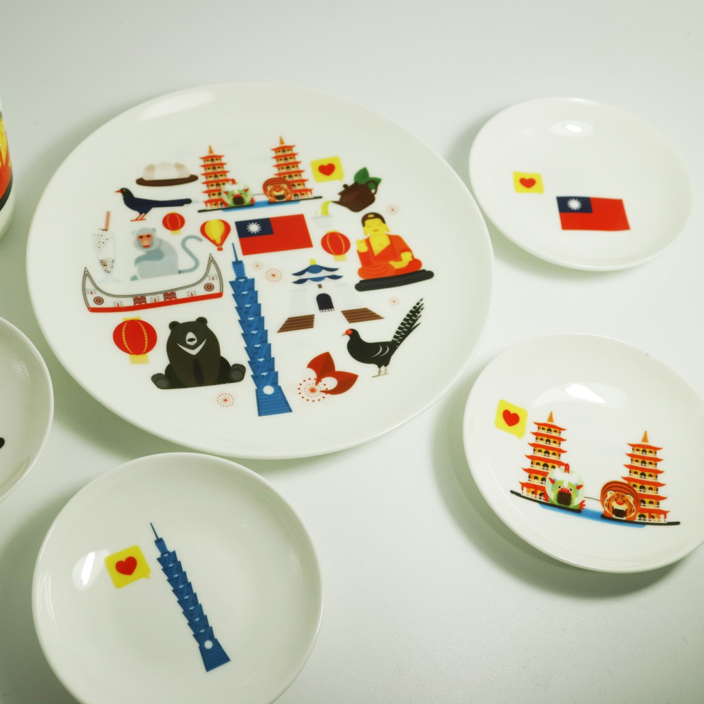 我愛台灣骨瓷杯盤小碟禮盒組 附禮盒 聖誕交換禮物