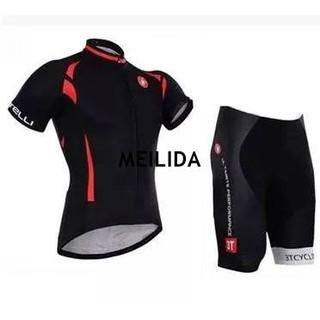 運動服飾-Castelli黑色蝎子短袖套裝騎行服自行車車衣、車褲套裝短袖短褲裝短袖套裝自行車裝備,男女款 桃園市