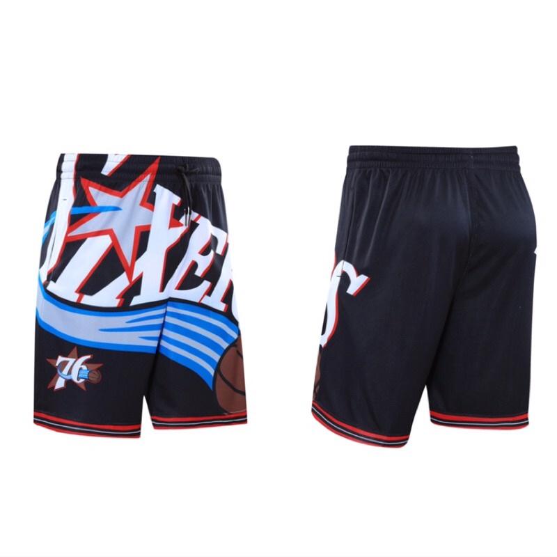 運動短褲 籃球褲 五分褲 NBA 76人隊 NIKE同款 透氣 排汗 口袋 復古 健身 訓練