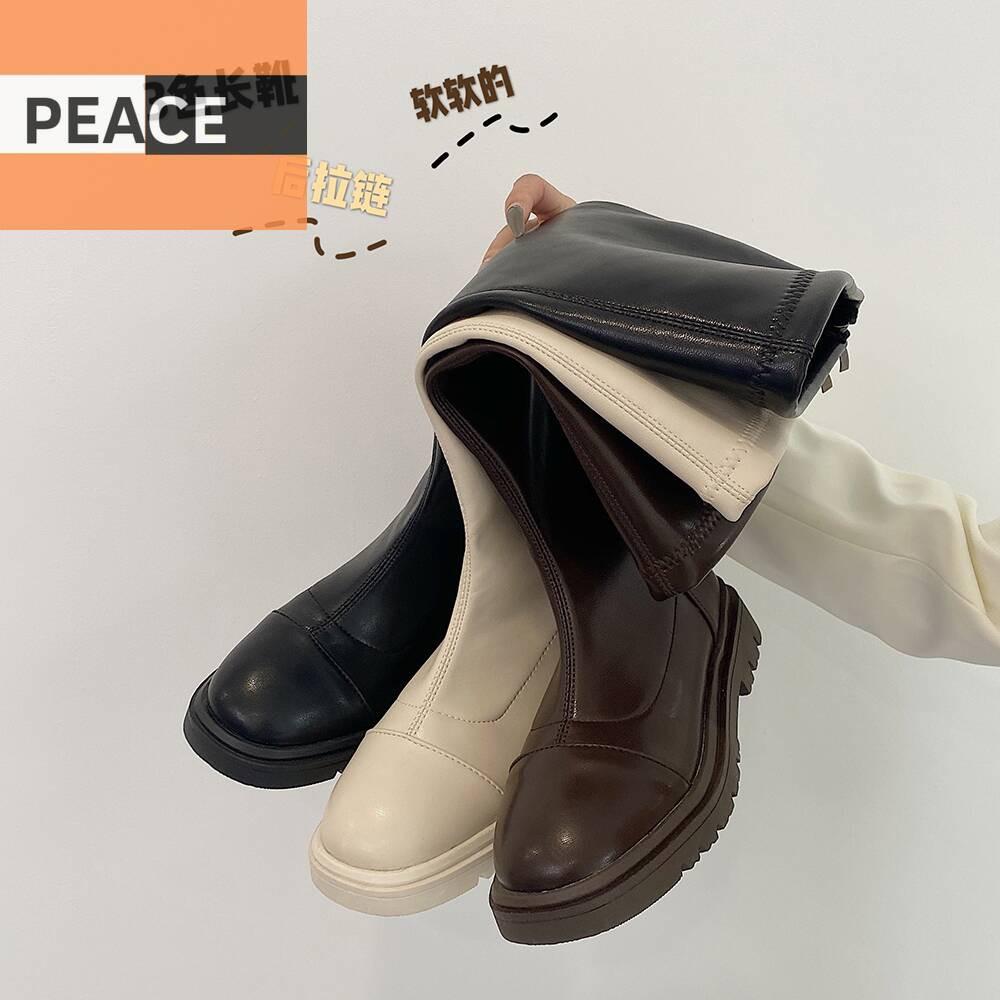 長筒靴女復古騎士靴2020新款韓版英倫風拉鏈網紅百搭粗跟高筒靴潮