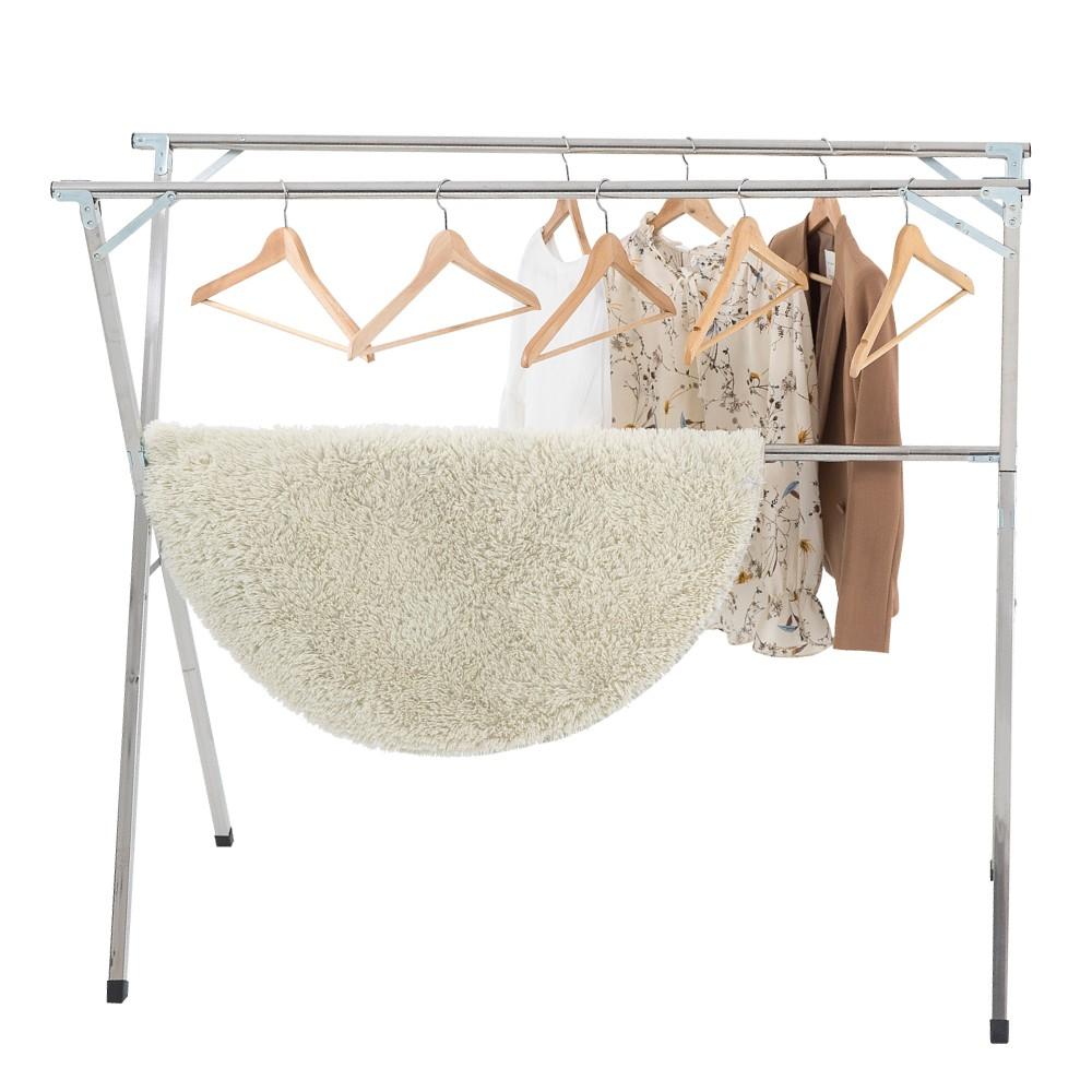 IDEA 2.4米不銹鋼 三桿 X型 晾曬 曬衣架 贈:防風扣x20+曬衣夾x12 免運 廠商直送 現貨