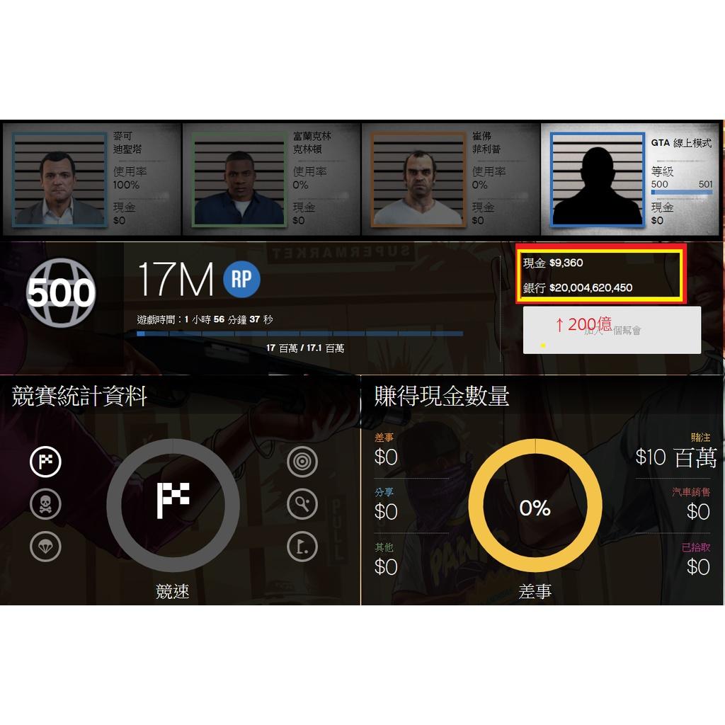 GTA5線上帳號 500等+1億線上遊戲幣+全解鎖+地堡解鎖+成就全解鎖