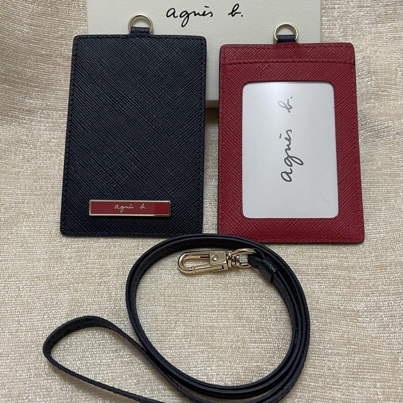 全新 agnes b 直式 深藍色 紅色 藍色 鐵牌 防刮 識別證套 證件夾 證件套 照片層 正品 卡夾 卡套 吊牌