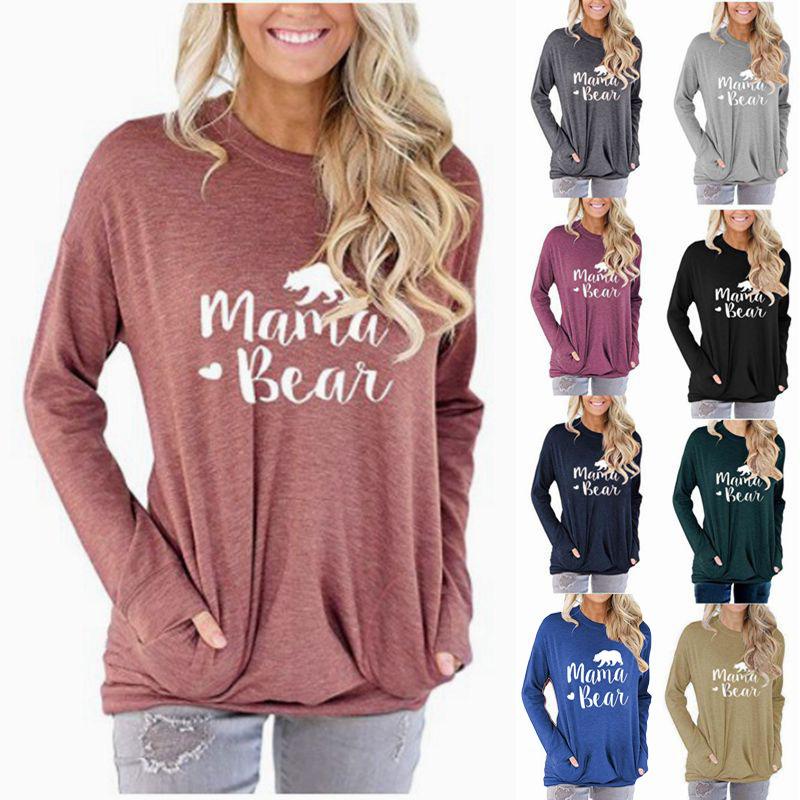 亞馬遜熱賣爆款女裝口袋衛衣 Mama Bear字母印花寬鬆圓領長袖T恤 JJWU