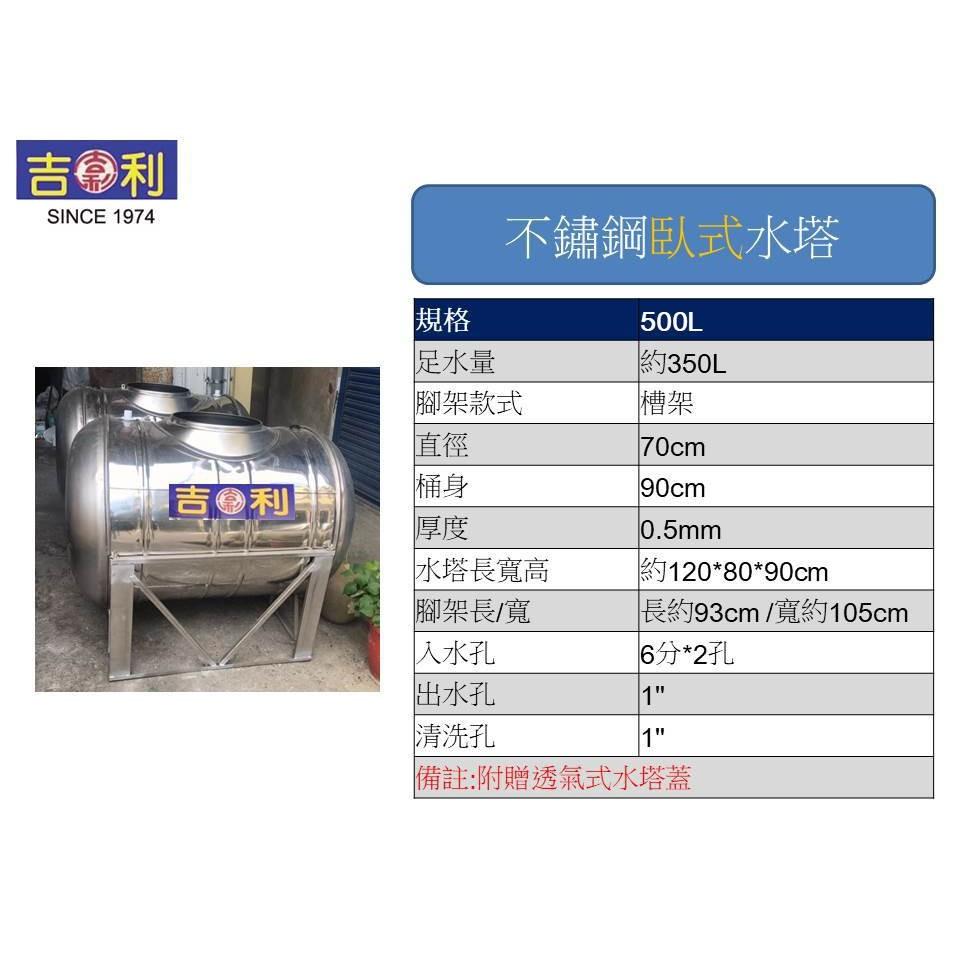 吉利-臥式不鏽鋼水塔-型號500L