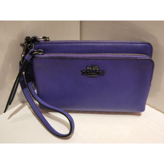 COACH 51928 紫色雙層手拿包