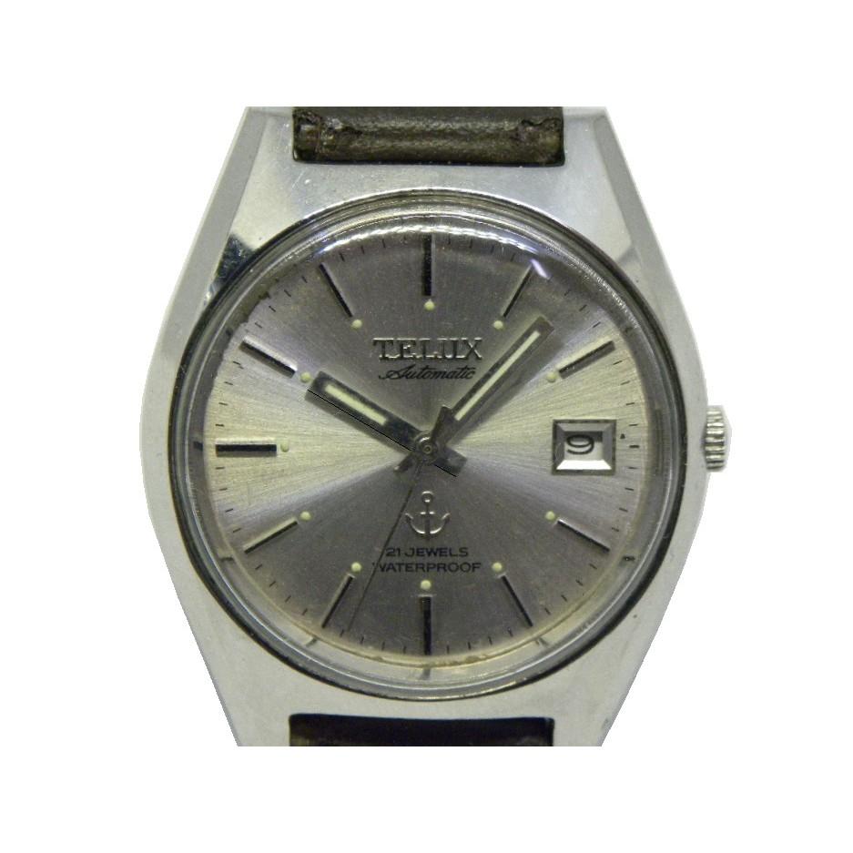[專業模型] 機械錶 [TELUX 78298] 鐵力士 圓型自動錶[銀色面+日期][21石]中性錶/軍錶