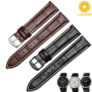 《優質錶帶》真皮手表帶代用卡西歐MTP-1303 1375 LTP-V007L-7E1男士牛皮表鏈yy