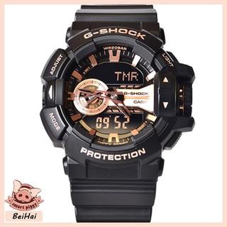 CASIO卡西歐 G-SHOCK 防水 反震 男款 運動手錶 復古重機雙顯 古銅 黑 防磁針 GA-110RG-1A 桃園市