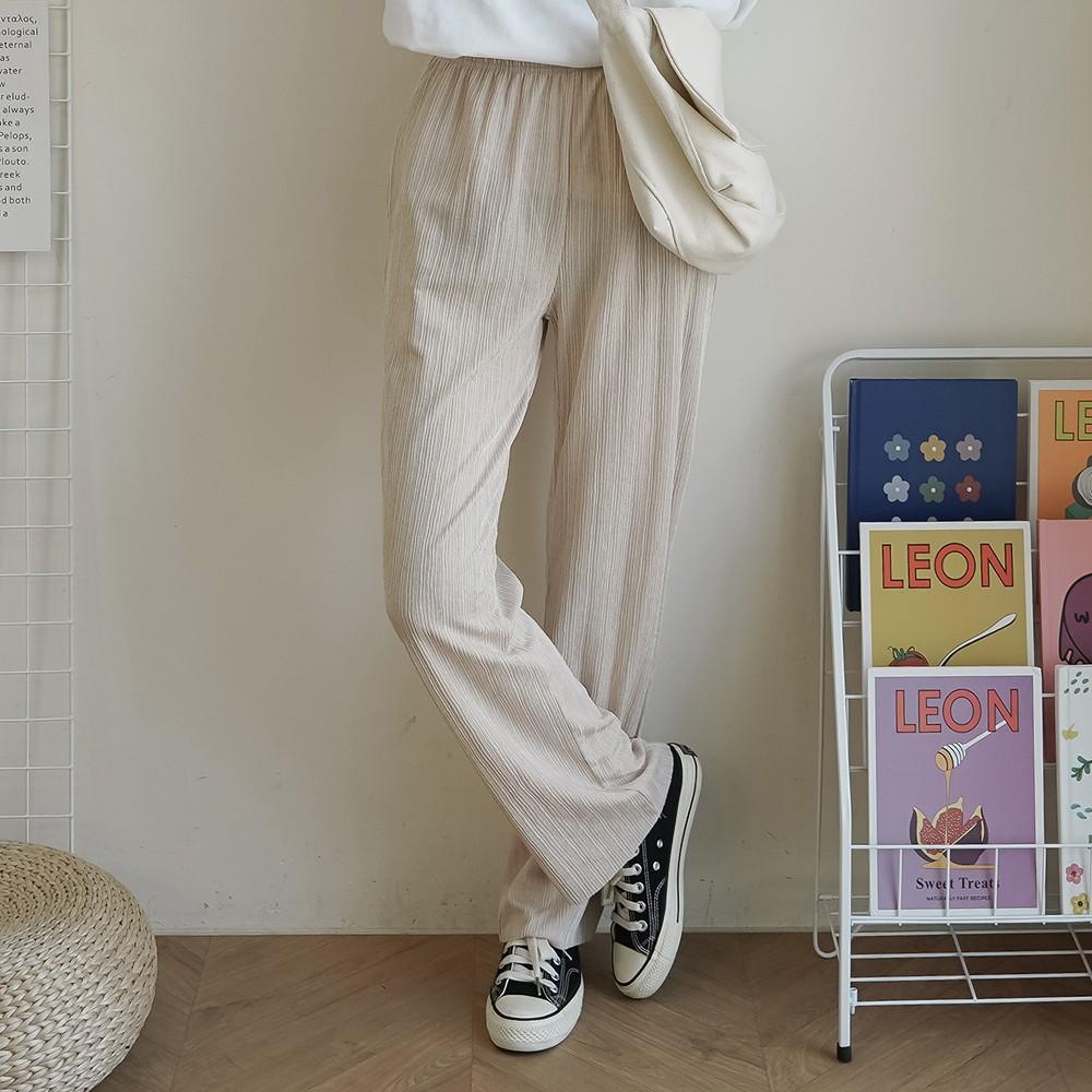 洋芋妹-正韓素面鬆緊腰身針織微透休閒寬褲 2色【SA547743】