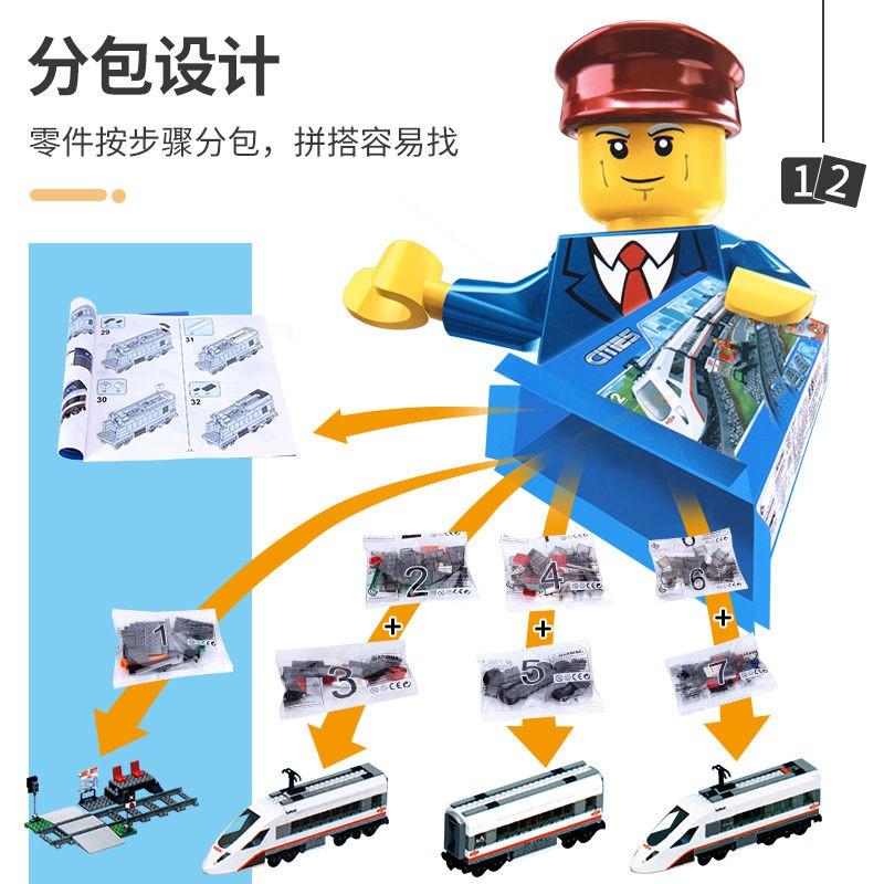 小乖.玩具賣場兼容樂高城市系列電動遙控版高速客運列車火車60051拼裝積木玩具