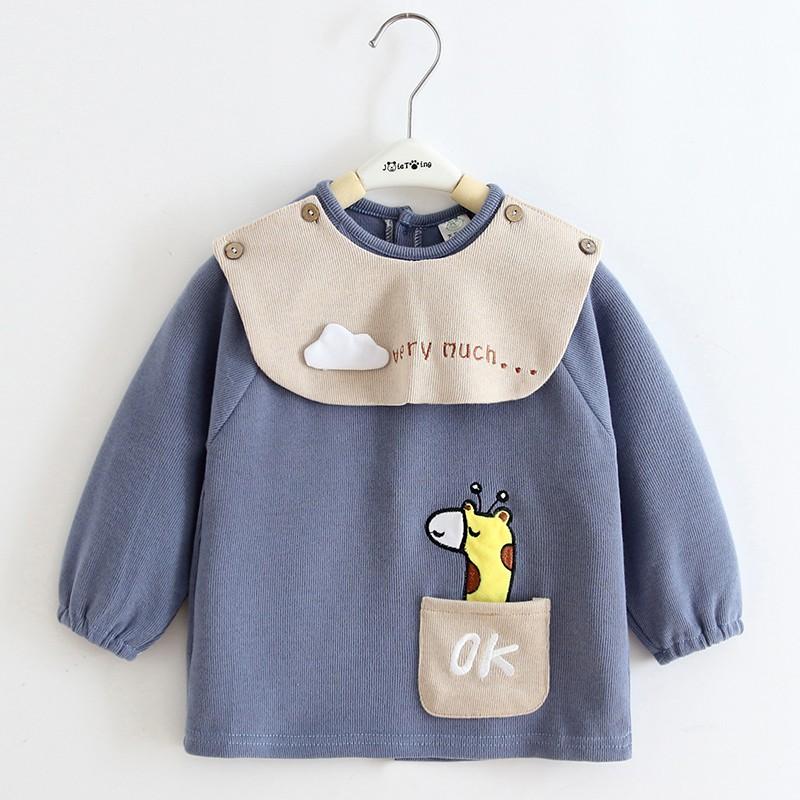 寶寶罩衣純棉秋冬兒童長袖防水嬰兒吃飯圍兜衣男童女孩反穿衣外穿