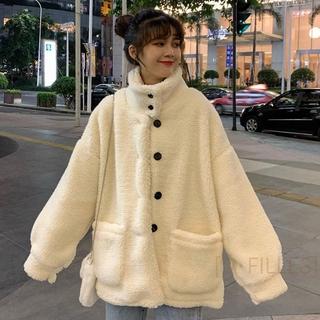 [D·FILLES]女生外套帽T羊羔毛 毛料羊羔毛外套女2020秋冬季學生韓版單排扣立領寬鬆百搭絨衫小個子潮長袖