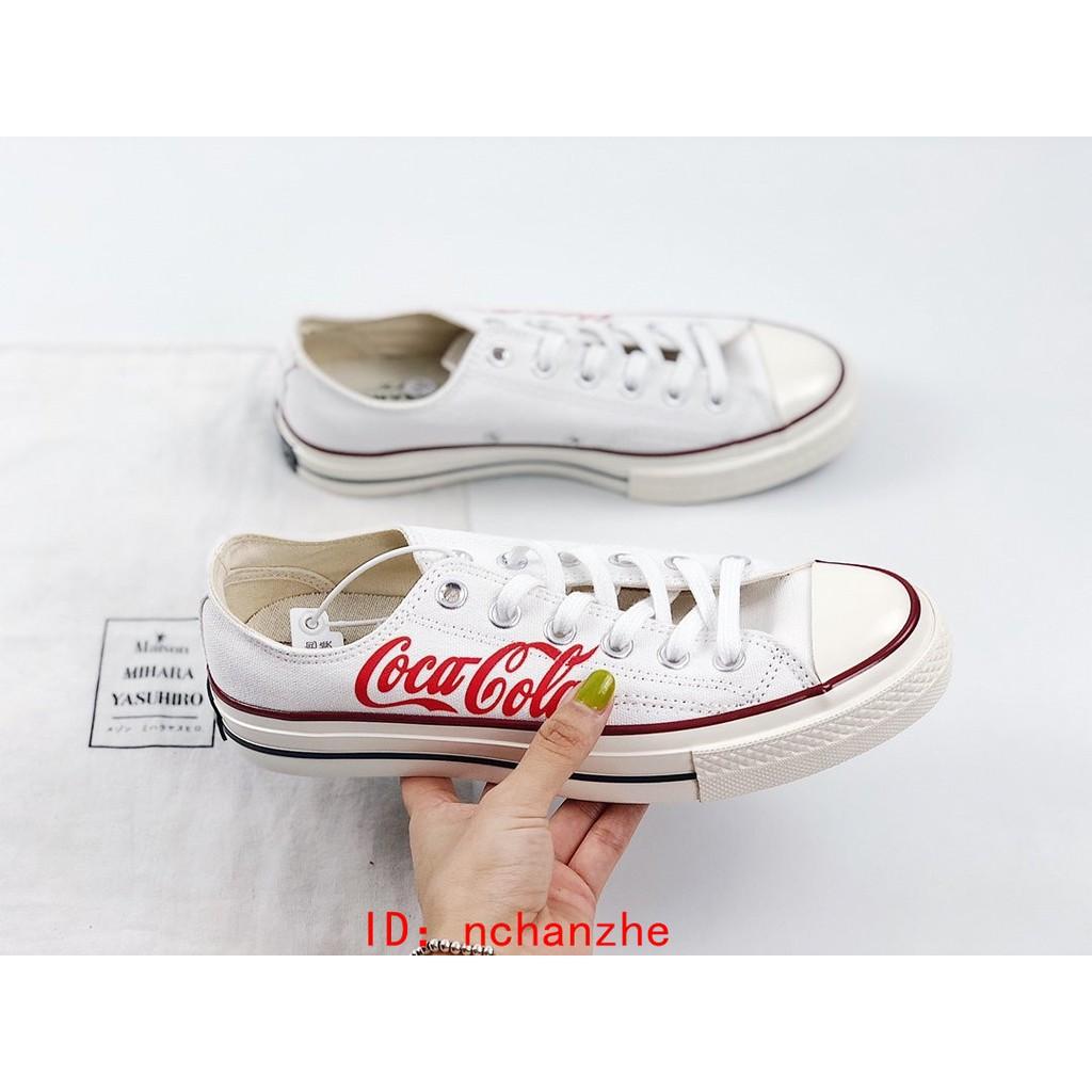Coca-Cola x Converse1970s聯名 經典 白紅低幫字母塗鴉限定款 三星標 帆布鞋 匡威休閒鞋 情侶鞋