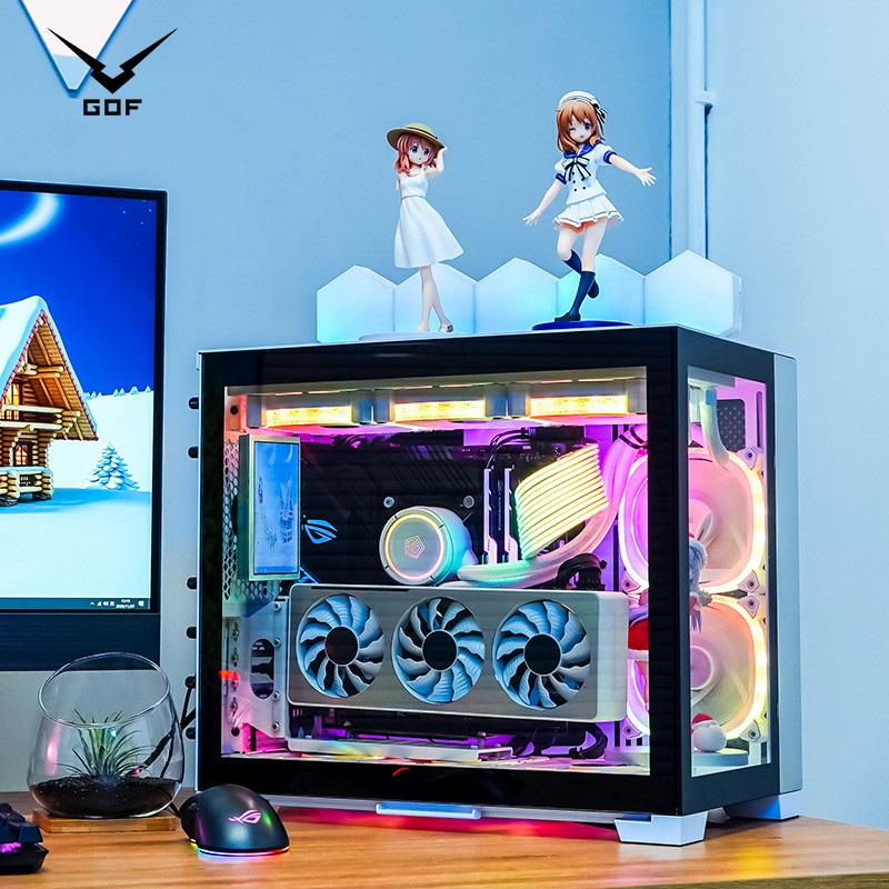 【小可愛】GOF i7 10700K RTX3060TI 3070顯卡迷你機箱組裝水冷游戲LOL主機