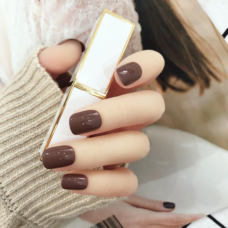 指甲貼片 一撕即貼 巧克力可可 秒貼甲片 純色 指甲貼片 穿戴式 可重複使用【買1送5配件】