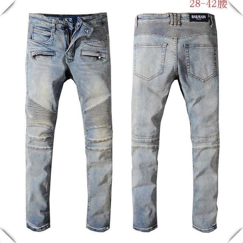 最熱銷款BALMAIN JEANS牛仔褲 巴爾曼牛仔褲 破洞牛仔長褲 男士破刷牛仔褲 直筒修身 刀割牛仔長褲38