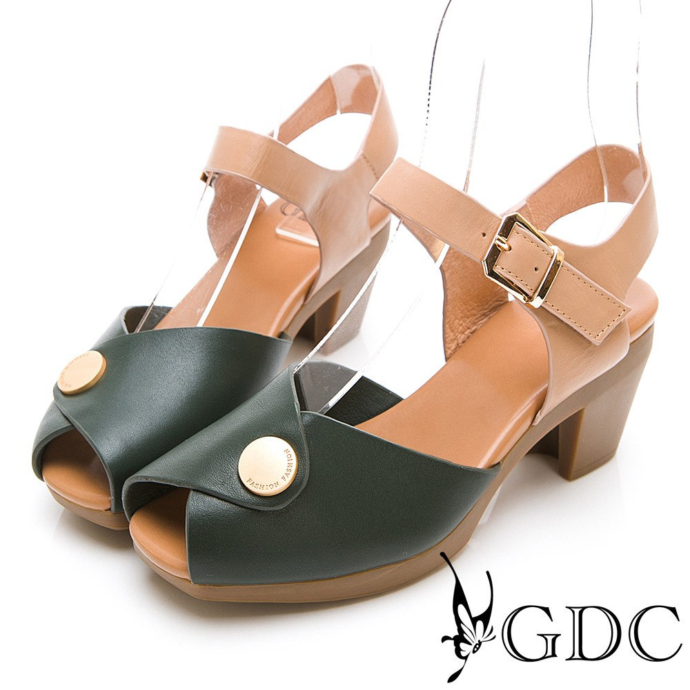 【GDC】真皮日雜小金扣典雅魚口中跟涼鞋37791234140 - 綠色 女 - 原價4980元