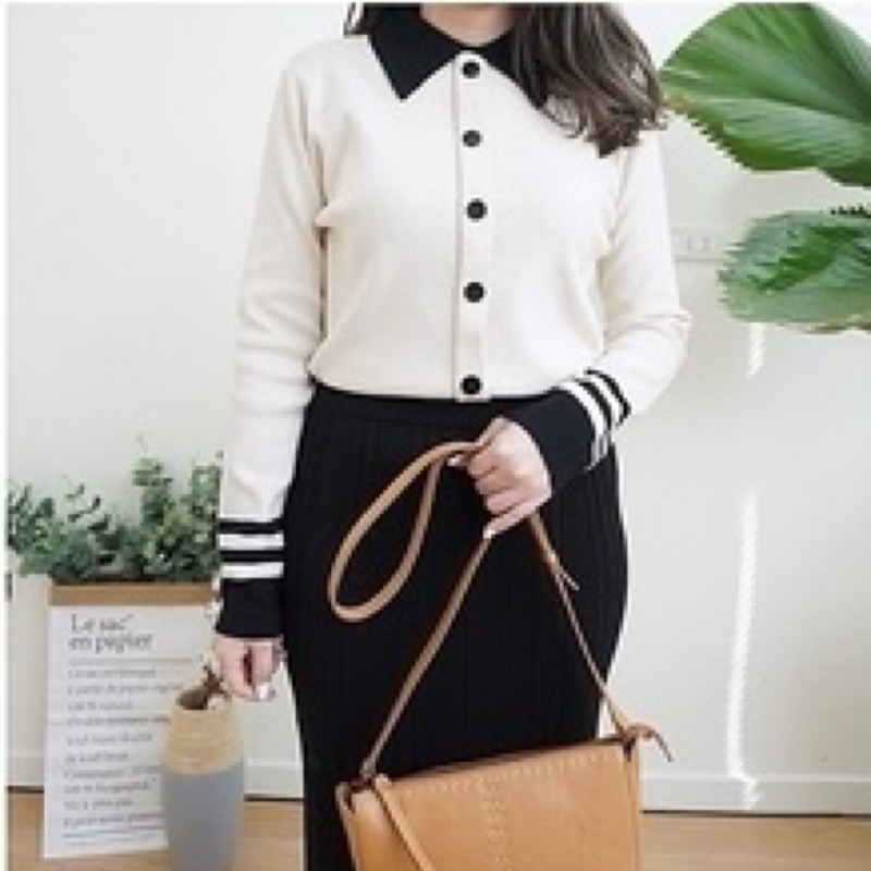 轉賣dobe Korea shop 拼接領假排釦氣質針織衫