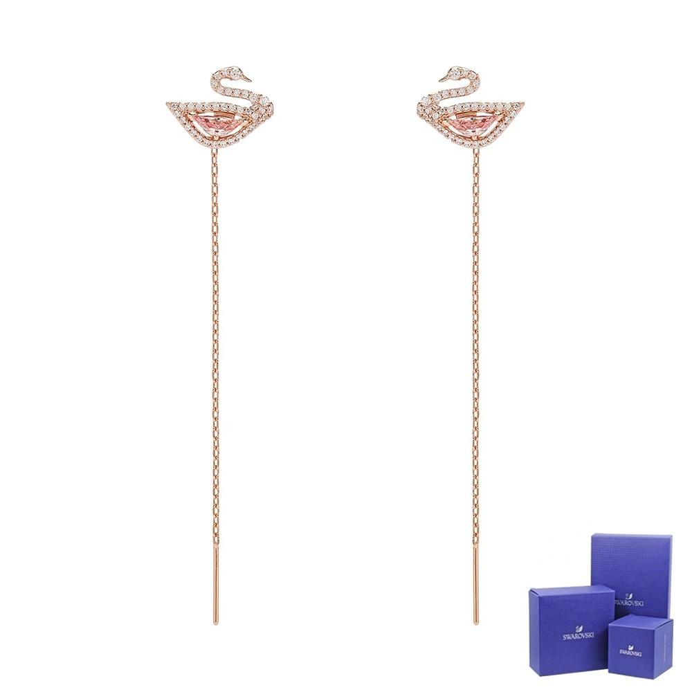 SWAROVSKI 施華洛世奇 Dazzling Swan璀璨水晶天鵝造型玫瑰金色垂墜耳環 5469990