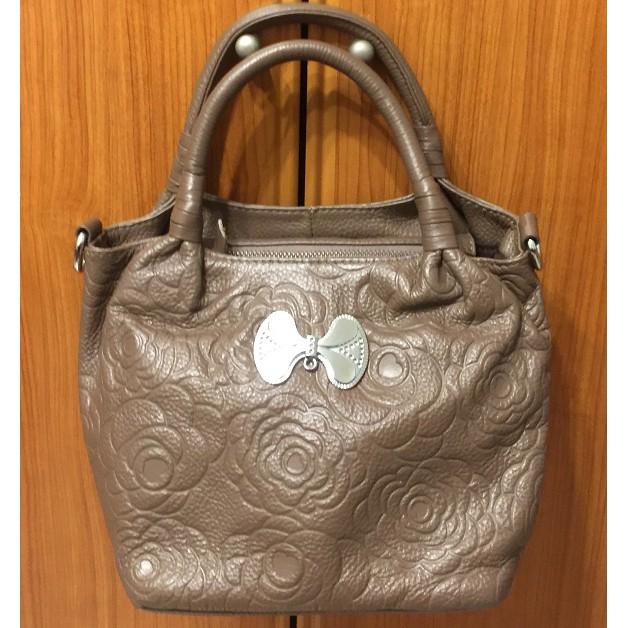 【時尚款】頂級真皮經典立體玫瑰紋手提包【名牌專櫃精品 CABACI】