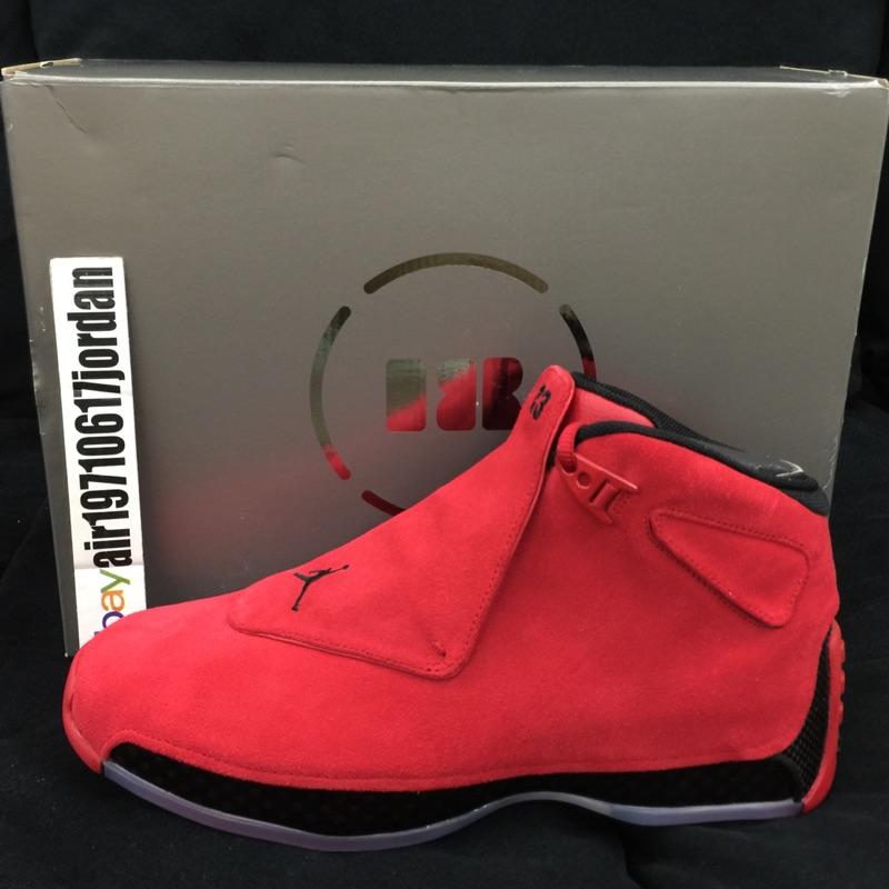 67847f3ffb44a7 Air Jordan 18 Retro Toro 紅黑麂皮AA2494-601 US 9~11 AJ18 卡夢鞋墊 ...