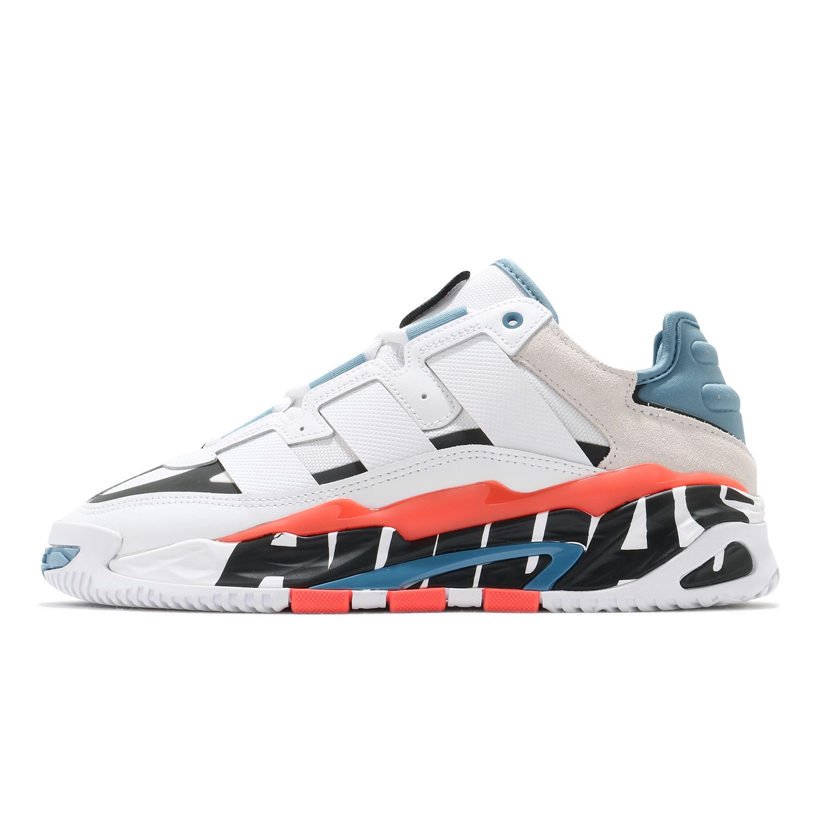 adidas 休閒鞋 Niteball 白 藍 橘 復古 三葉草 愛迪達 男鞋 鞋舌魔鬼氈【ACS】 FX7644