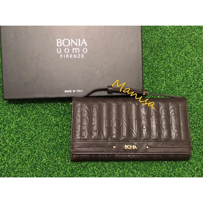 BONIA 義大利 全新專櫃正品 真皮 長夾 皮夾 手拿包