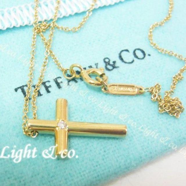 【Light & co.】專櫃真品 TIFFANY 750 18K K金 鑲鑽 十字架 項鍊 鑽石