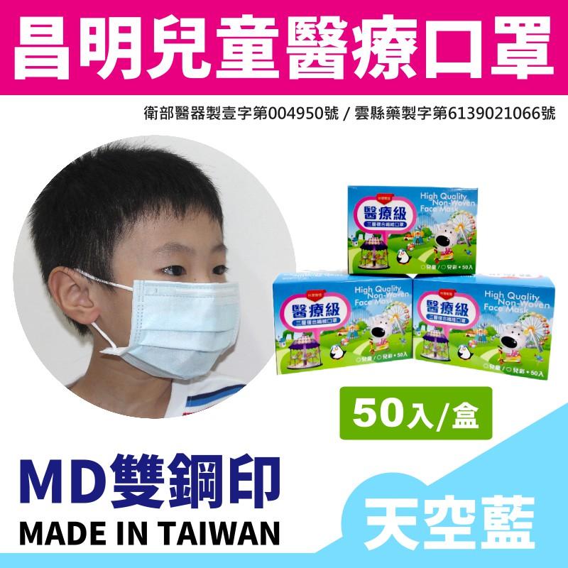 【台灣國家隊MD雙鋼印】昌明生技 兒童醫療口罩(50入/盒)-天空藍