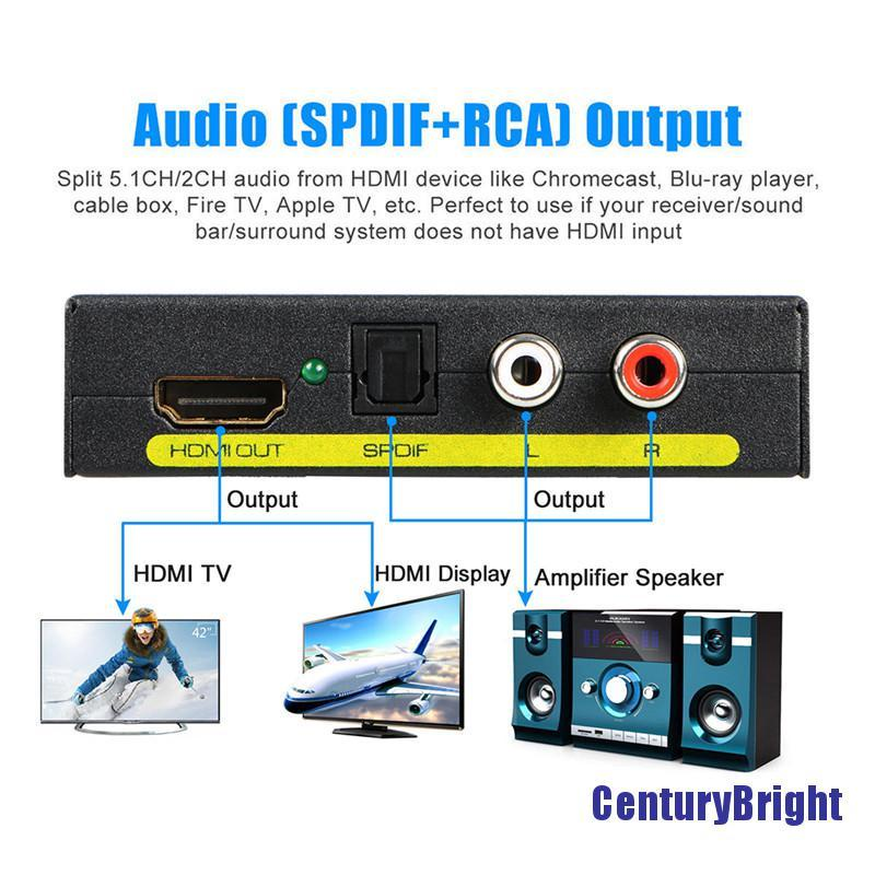 [Cetyb] 1080P HDMI 轉 HDMI 光學 + SPDIF + RCA L / R 提取器轉換器音頻分配器